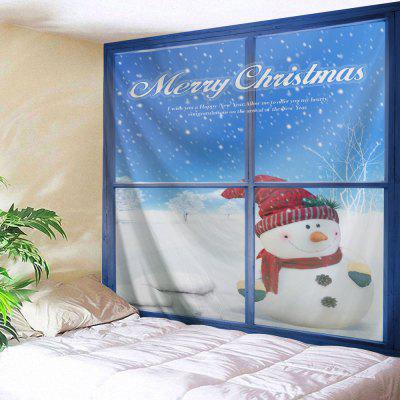Wall Hanging Christmas Window Snowman Tapestry