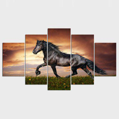 YSDAFEN ny - 047 Canvas Horse Framed Prints 5PCS