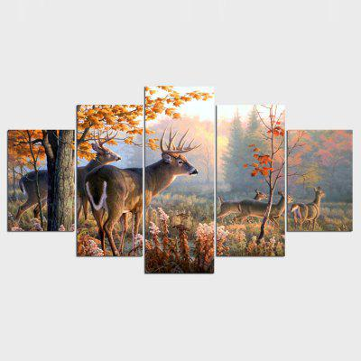 YSDAFEN ny - 045 Modern Canvas Deer Framed Prints 5PCS