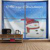 Wall Hanging Christmas Window Snowman Tapestry - BLUE AND WHITE