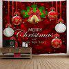 Wall Decor Merry Christmas Ball Bell Tapestry - RED