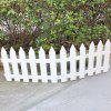 Three Grid White Picket Fence Border - WHITE