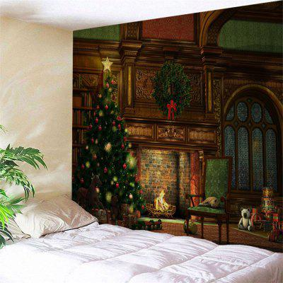 Wall Hanging Art Christmas Tree Fireplace Print Tapestry