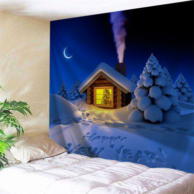 Wall Hanging Art Happy New Year Snowy Print Tapestry