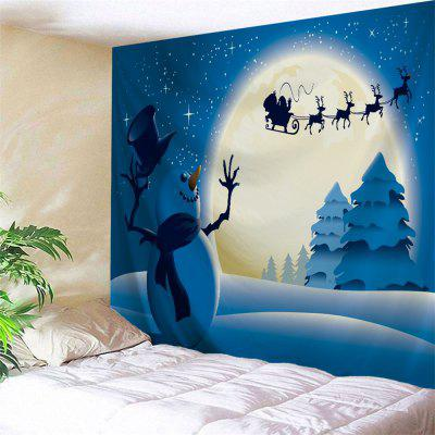 Buy BLUE Wall Hanging Art Christmas Night Snowman Print Tapestry for $21.65 in GearBest store