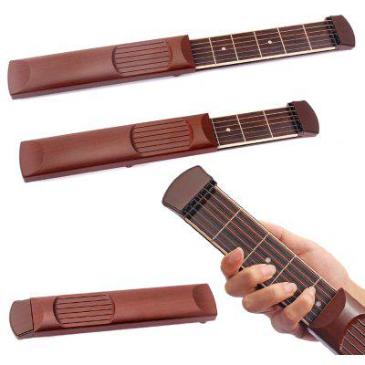 Buy BROWN 1pc Portable Pocket Guitar Practice Tool 6 Strings 6 Fret for $19.05 in GearBest store