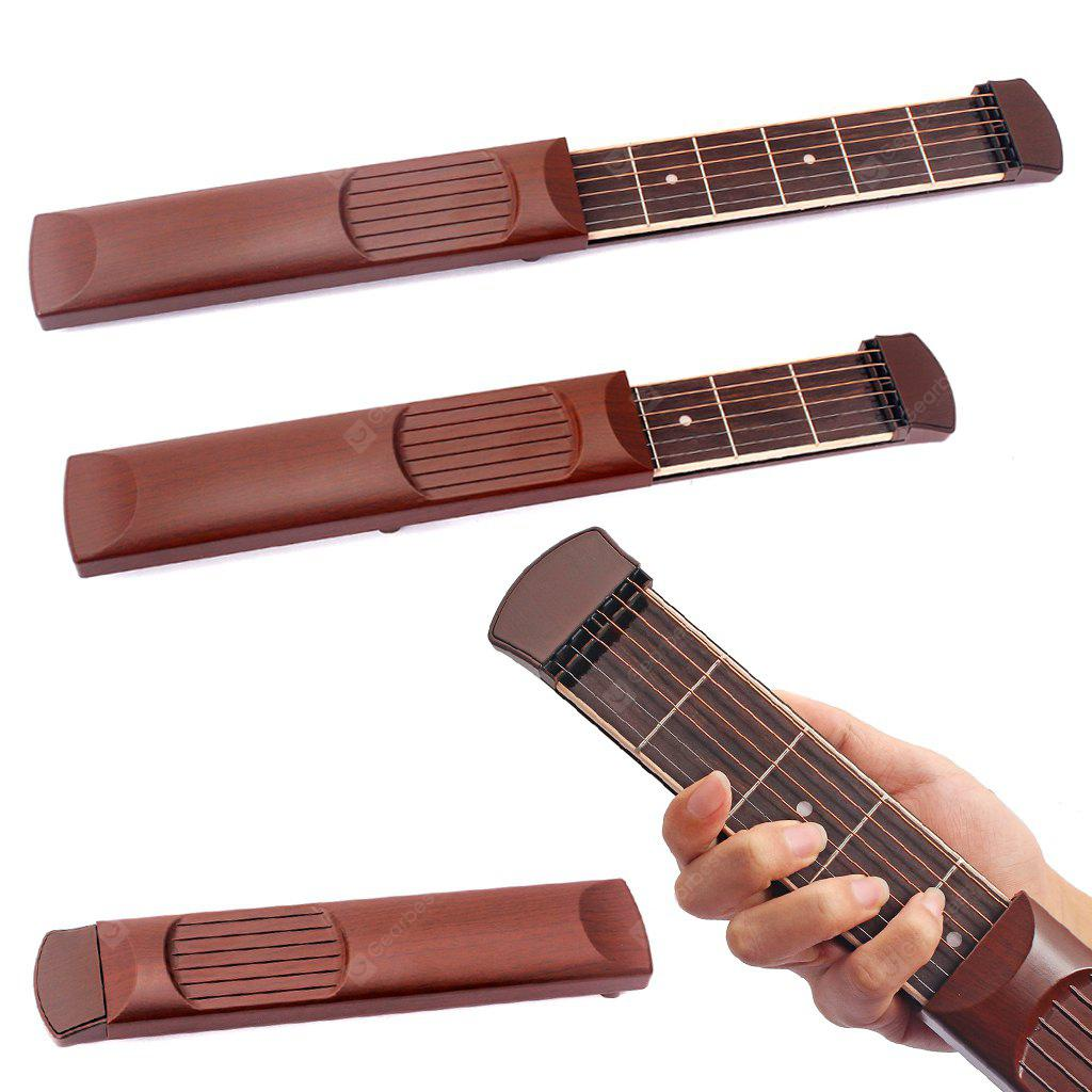 1pc Portable Pocket Guitar Practice Tool 6 Strings 6 Fret BROWN
