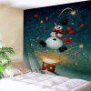 Wall Hanging Art Christmas Firework Snowman Print Tapestry - COLORMIX