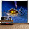 Wall Hanging Art Happy New Year Snowy Print Tapestry - BLUE