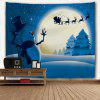 Wall Hanging Art Christmas Night Snowman Print Tapestry - BLUE