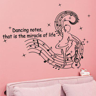 LAIMA QT0371 Beautiful Dancing Notes Wall Sticker