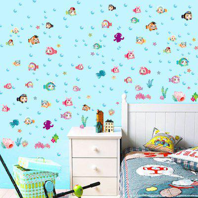 LAIMA QT0542 Cartoon Bubble Fish Pattern Wall Sticker