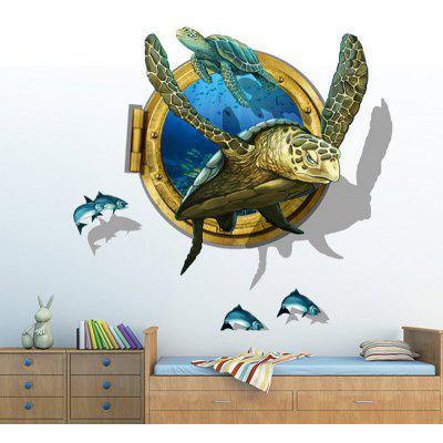 LAIMA QT0537 3D Sea Turtle Playfish Adesivo da Parete