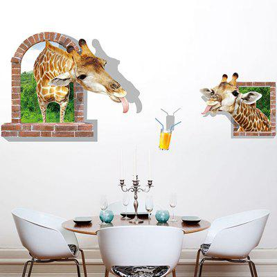 LAIMA QT0527 3D Giraffe False Windows Design Wall Sticker