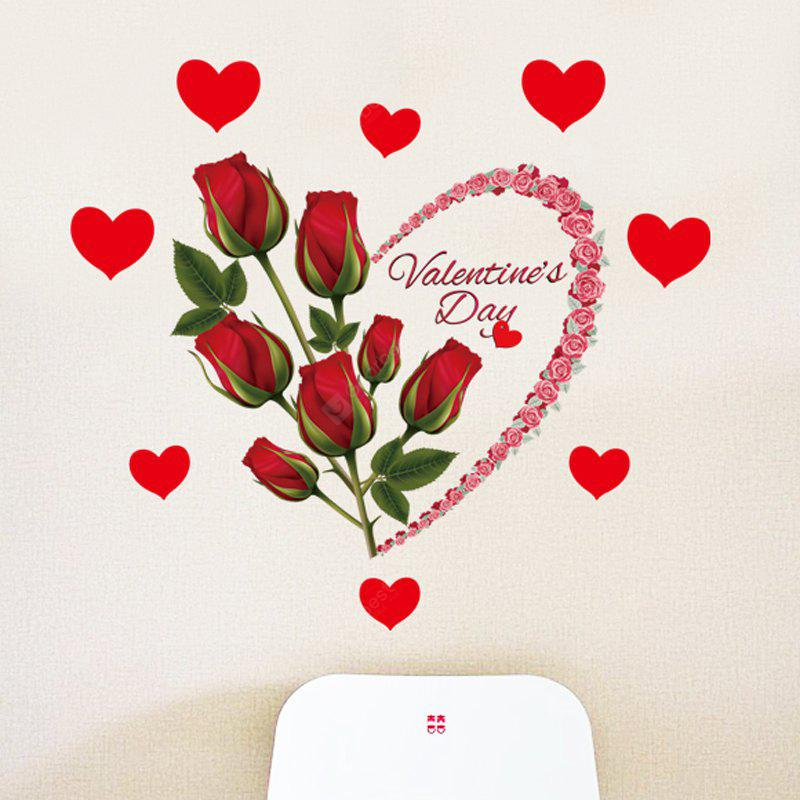 LAIMA QT0526 Love Red Rose Pattern Wall Sticker