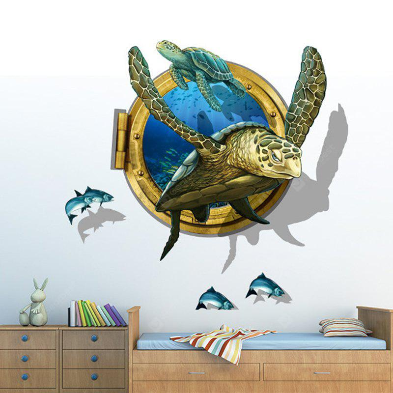 LAIMA QT0537 3D tortuga de mar Playfish Wall Sticker