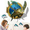 LAIMA QT0537 3D Turtle Turtle Playfish Wall Sticker - MULTICOLORE