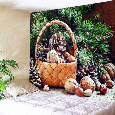 Wall Hanging Art Christmas Tree Basket Print Tapestry