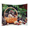 Wall Hanging Art Christmas Tree Basket Print Tapestry - GREEN