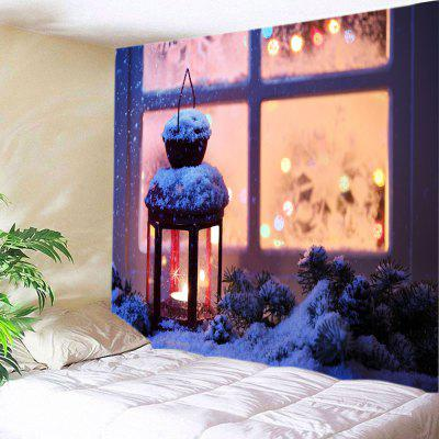 Buy Wall Hanging Art Snowy Christmas Lantern Print Tapestry COLORMIX for $16.31 in GearBest store