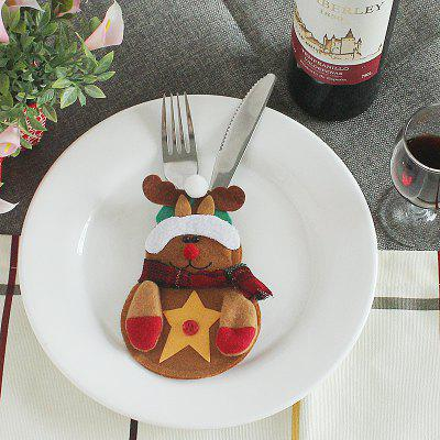 Buy BROWN Christmas Bear Style Decoration Knife Fork Bag for $1.08 in GearBest store