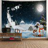 Christmas Moon Snowman Print Tapestry - BLACK BLUE