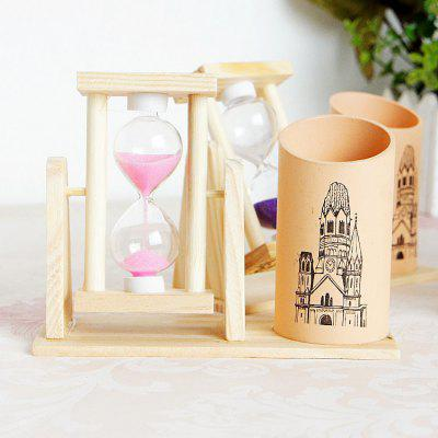 Wooden Pen Pencil Cup with Rotating Hourglass 1PC