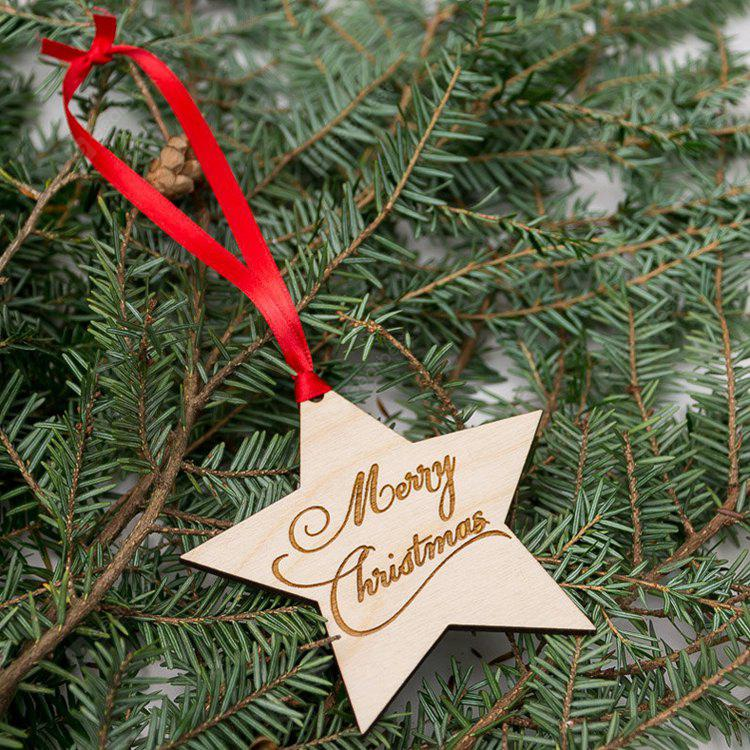 Tree Merry Christmas Star Wooden Hanging Decorations