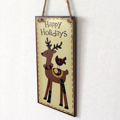 Christmas Deer Pattern Wooden Door Hanging Sign