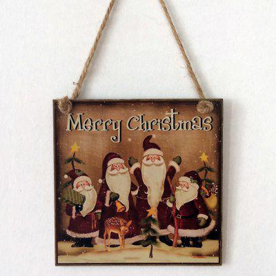 Christmas Santa Pattern Door Wooden Hanging Sign