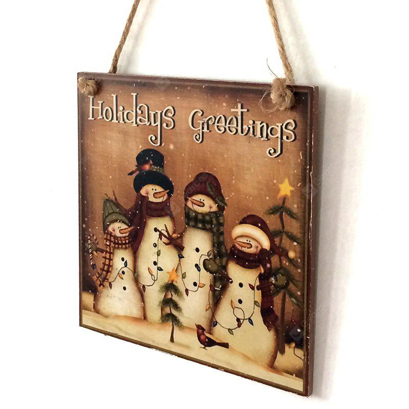 Christmas Snowmen Pattern Door Wooden Hanging Sign