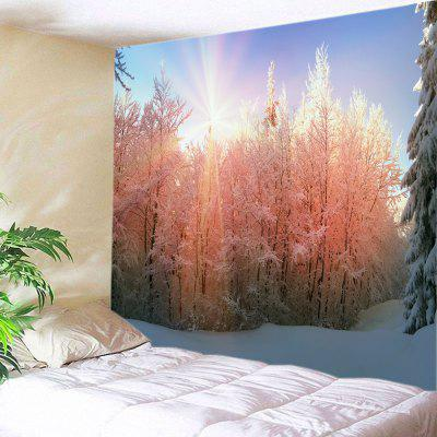 Buy COLORMIX Wall Hanging Art Sunlight Snow Forest Print Tapestry for $19.68 in GearBest store