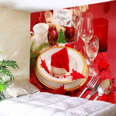 Buy RED Wall Hanging Art Merry Christmas Tableware Print Tapestry for $22.30 in GearBest store