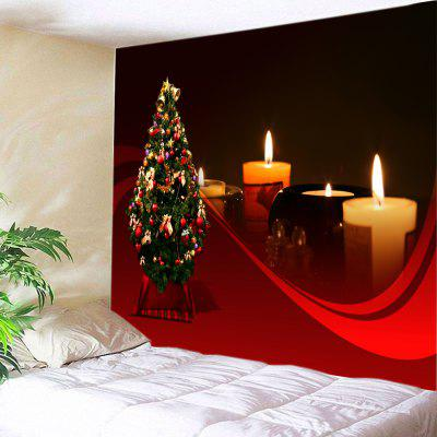 Buy RED Wall Hanging Art Christmas Tree Candles Print Tapestry for $19.68 in GearBest store
