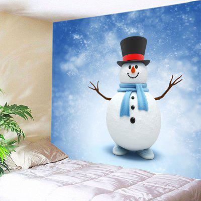 Buy WHITE Wall Hanging Art Christmas Snowy Snowman Print Tapestry for $15.00 in GearBest store