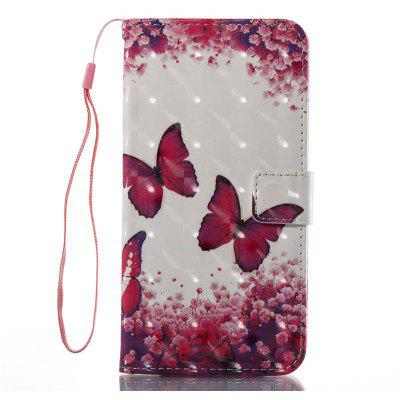 3D Painting Rose Red Butterfly Pattern PU Cover for iPhone 8 Plus