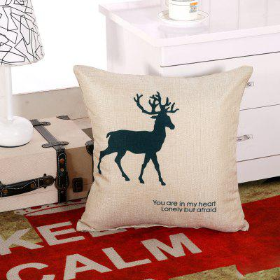 LAIMA BZ004 - 2 Flax Throw Pillow Case Deer Pattern Square Decorative Pillowcase Cushion Cover