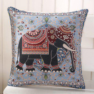 LAIMA BZ003 - 1 Flax Throw Pillow Case Cartoon Elephant Pattern Square Decorative Pillowcase Cushion Cover