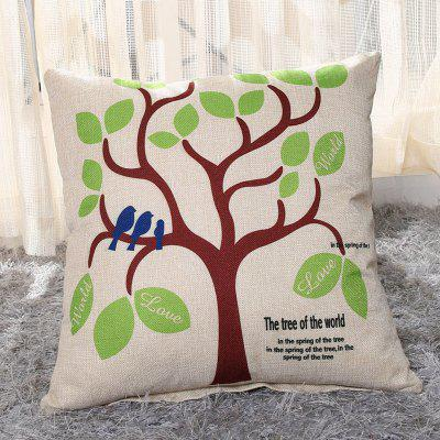LAIMA BZ002 - 11 Flax Throw Pillow Case Green Tree Pattern Square Decorative Pillowcase Cushion Cover