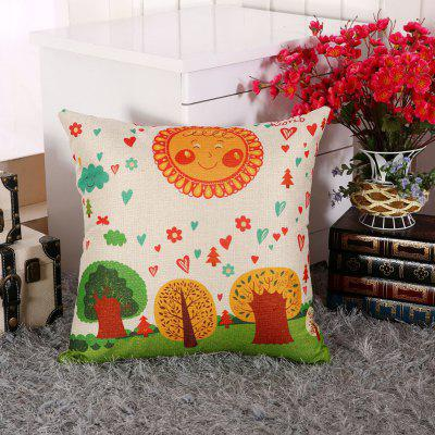 LAIMA BZ002 - 7 Flax Throw Pillow Case Cartoon Pastoral Pattern Square Decorative Pillowcase Cushion Cover