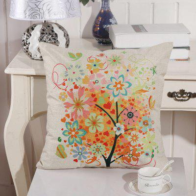 LAIMA BZ002 - 5 Flax Throw Pillow Case Colorful Flower Tree Pattern Square Decorative Pillowcase Cushion Cover