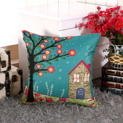 LAIMA BZ002 - 4 Flax Throw Pillow Case Rural Cottage Pattern Square Decorative Pillowcase Cushion Cover