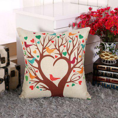 LAIMA BZ002 - 3 Flax Throw Pillow Case Heart Tree Pattern Square Decorative Pillowcase Cushion Cover