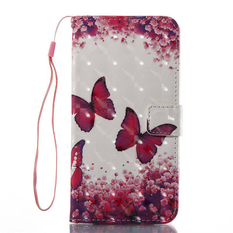 3D Painting Rose Red Butterfly Pattern PU Cover for iPhone 7 Plus