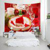 Wall Hanging Art Merry Christmas Tableware Print Tapisserie - ROUGE
