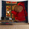 Wall Hanging Art Christmas Santa Window Print Tapestry - RED