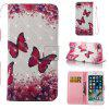 3D Painting Rose Red Butterfly Pattern PU Cover for iPhone 8 Plus - MULTI