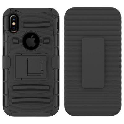 Silicone + PC Back Cover Case with Stand for iPhone X