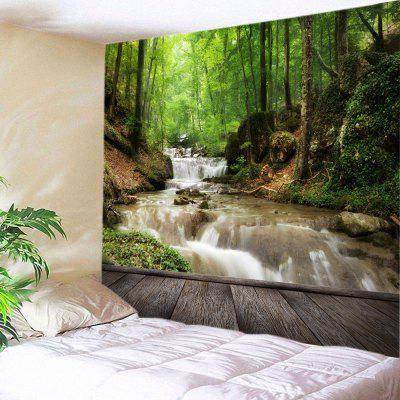 Buy GREEN Wall Hanging Art Forest Stream Print Tapestry for $13.85 in GearBest store
