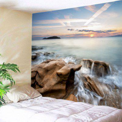 Buy COLORMIX Wall Hanging Art Sunrise Ocean Rock Print Tapestry for $16.31 in GearBest store